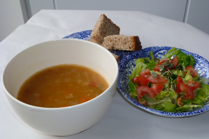Vegetable Barley Soup with Flageolet Beans