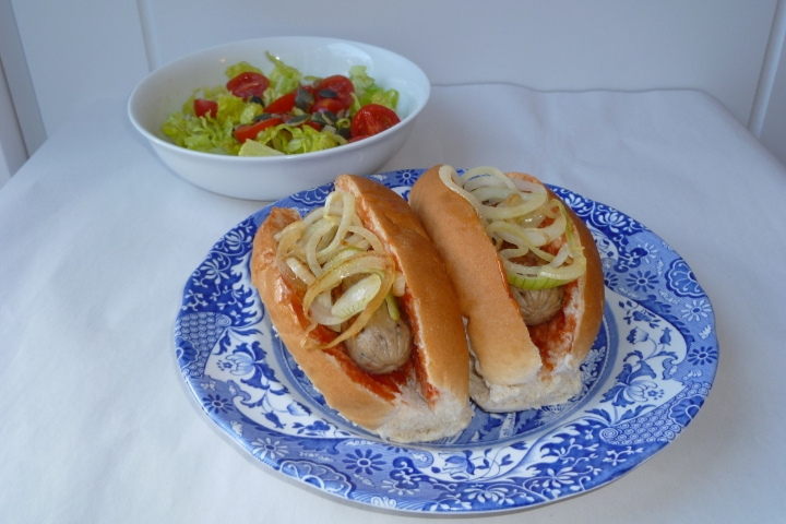 Veggie Sausage Hot Dogs (Soya Based) with Onions and Tomato Sauce - Very Tasty!