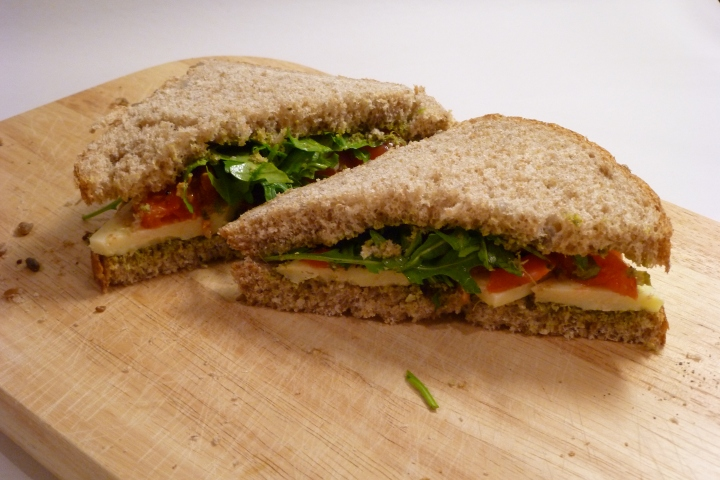 Cheese, Tomato and Pesto Sandwich